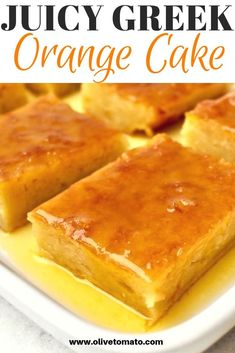 Juicy Greek Orange Cake Portokalopita - This traditional Greek orange cake is juicy, fragrant and so satisfying. This custardy and syrupy dessert is a favorite in Greece and so easy to make. Greek Sweets, Greek Desserts, Just Desserts, Greek Food Recipes, Turkish Dessert Recipes, Authentic Greek Recipes, Health Desserts, Apple Cake Recipes, Orange Recipes