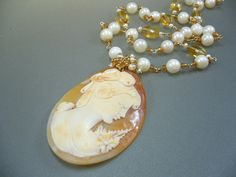 Real Antique Cameo Citrine Akoya Pearl Wire Wrapped Gold Necklace