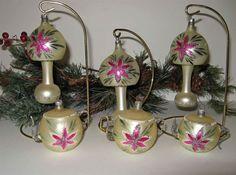 RARE 6 WEST GERMAN THIN GLASS MATCHING ORNAMENTS Lamp Shape-Tea Pots POINSETTIA