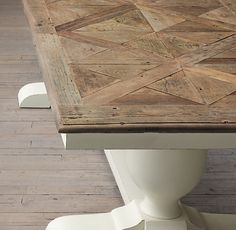 RH: Baroque Parquet Dining Tables...could a parquet be done on top of an existing veneer table top? Hmmmm?