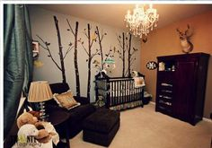 Baby boy nursery decorated in a woodland theme with forest animals and birds: Credit for the following photos of a delightful woodland animals theme nursery for a baby boy goes to Twinty Photography. It's only fitting that this handsome