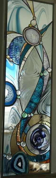 "SOLD stained glass window, RESERVED for Marisa ""Winter at Lake Caddo "" hand blown glass , Brazilian agates, rondel,hand poured glasses--by ZuniMountainArtGlass Stained Glass Crafts, Stained Glass Designs, Stained Glass Panels, Stained Glass Patterns, Leaded Glass, Window Glass, Sea Glass Art, Mosaic Glass, Fused Glass"