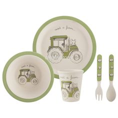 Creative Tops Visit A Farm Tractor 5Pc Kids Pressed Bamboo Dinner Set | Children's Dining | Dining and Serving | Products | Creative Tops