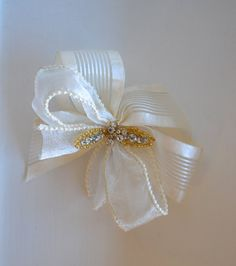 Flower Girl Hair Bow ~ First Communion Hair Bow ~ Christening Hair Bow ~ Baptism Hair Bow ~ Girls Hair Accessories ~ www.couturesbylaura.etsy.com ~ www.couturesbylaura.com