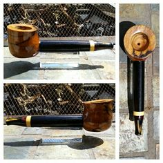 Spalted Beech, African Blackwood, Maple and Bloodwood handmade pipe with a Black and Gold Lava Bright acrylic mouth piece. Handcrafted. One of a kind. By Kade.
