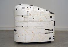 Hiroyuki Hamada – #63, 2006-10, 45 x 40 x 24 inches, burlap, enamel, oil, plaster, resin, tar, wax and wood