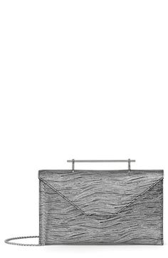 M2MALLETIER ANNABELLE METALLIC CALFSKIN LEATHER CLUTCH - METALLIC. #m2malletier #bags #shoulder bags #clutch #metallic #leather #hand bags #
