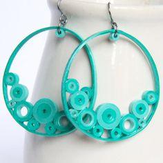 Big Crescent Earrings Aqua Bubbles OOAK Paper Quilled Statement Earrings. $40.00, via Etsy.
