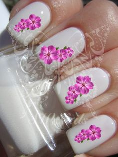 Nail Art Purple Flower Nail water decals Transfers Wraps