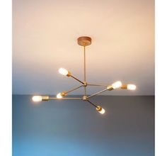 Mid century modern brass chandelier light fixture - 6 Arms Sputnik Chandelier