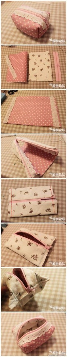 Make your own pencil case / pouch. Or toiletry bag.- Make your own pencil case / pouch. Or toiletry bag. Or misc tote. Make it anythi… Make your own pencil case / pouch. Or toiletry bag. Or misc tote. Sewing Hacks, Sewing Tutorials, Sewing Patterns, Sewing Ideas, Fabric Crafts, Sewing Crafts, Sewing Projects, Sewing Diy, Bags Sewing