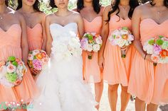 Coral Bridesmaid Dress Short Orange Bridesmaid Dress by Oyeahdress, $99.00