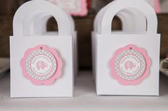 Elephant Favor Tags Baby Shower - Pink & Grey