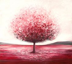 Red tree  Original acrylic painting Made to order by DachaStudio, $600.00