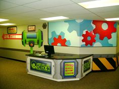 church child check in systems | Check-in is clearly identified and themed to match!