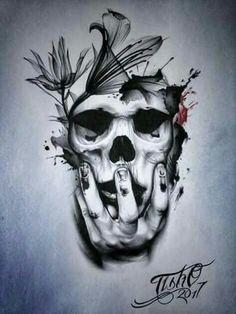 Skulls n Skeletons Skull Tattoo Design, Skull Design, Skull Tattoos, Body Art Tattoos, New Tattoos, Sleeve Tattoos, Hand Tattoos, Tattoo Designs, Tattoo Sketches