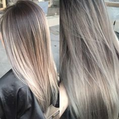 """""""don't you just hate it when your hair is this PERFECT??? Lol flawless ash blonde balayage! Can you believe she has jet black asian hair? DISCLAIMER this…"""""""