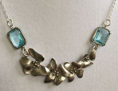 Aquamarine Square Crystal and Silver Flower Necklace by joytoyou41, $35.00