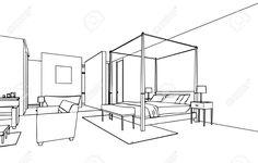 Prinzipskizze Zeichnung Perspektive Eines Innenraums Lizenzfreie Fotos, Bilder Und Stock Fotografie. Image 44774166.