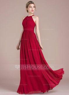 [£82.00] A-Line/Princess Scoop Neck Floor-Length Chiffon Bridesmaid Dress With Ruffle