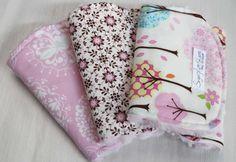 Set of 3 Light Pink Trees Burp Cloth Set with a Rosebud Minky Back on Etsy, $27.00