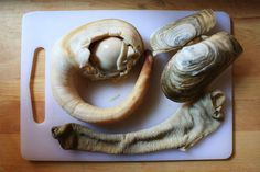 The Nasty Bits: Geoduck Clam Recipes, Seafood Recipes, Cooking Recipes, Razor Clams Recipe, Steamed Clams, Shellfish Recipes, Recipe Boards, Breakfast Lunch Dinner, Pinterest Recipes