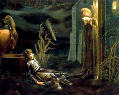 Dream of Lancelot at the Chapel of the Holy Grail by Edward Burne-Jones, 1896.