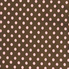 "Cozy Pink Polka Dot 1/2"" Chocolate Brown Polyster Fabric EZ"