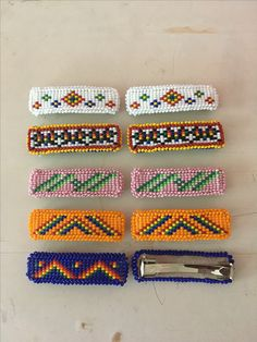 Various beaded barrettes made by Sunny T. Seed Bead Earrings, Beaded Earrings, Seed Beads, Beaded Jewelry, Native Beading Patterns, Bead Patterns, Wolf Eyes, Nativity Crafts, Bead Loom Bracelets