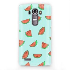 A printed phone case with the watermelon graphic. Formfitting construction with button, cord, and camera access. Hardshell half coverage. Material: PC/PVC Imported, China