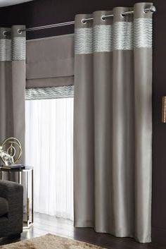Buy Metallic Shimmer Eyelet Curtains from the Next UK online shop Grey Blackout Curtains, Blackout Blinds, Curtains With Blinds, Silver Curtains, Luxury Bedroom Design, Colorful Curtains, Cushion Fabric, Luxurious Bedrooms, Next Uk