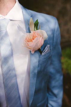 Bue Suit Tie Groom Peach Peony Buttonhole Beautiful Rhodes Greek Island Wedding http://my-lovestory.co.uk/