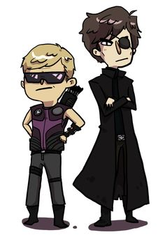 Sherlock/Fury and Watson/Hawkeye...couldn't decide whether to pin on my Sherlock or Avengers boards, lol.