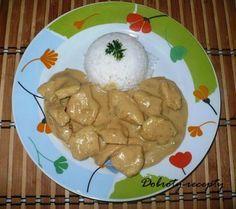 Hořčicová omáčka s kuřecím masem Chicken Recipes, Dairy, Pudding, Cheese, Meat, Desserts, Food, Tailgate Desserts, Deserts
