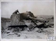 Abandoned Jagdtiger of Schwere Panzerjäger-Abteilung 653 Date: Tuesday, 17 April 1945 Place: Morsbronn, Alsace, France Photographer: Unknown