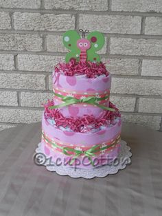 Mini Pink Butterfly Diaper Cake by 1cupCotton on Etsy, $30.00