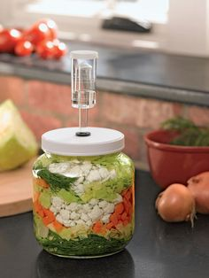 Small Fermentation Kit for Pickles, Kimchi, Sauerkraut , Kombucha! And, I 💕💕mine! You can use this for the Sauerkraut recipes found here! Probiotic Foods, Fermented Foods, Kimchi, Chutney, Vegetable Storage, Canning Recipes, Fresh Vegetables, Veggies, Korean Food