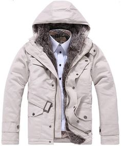 Men Spring New Style Warm Hood Long Sleeve Ivory Cotton Coat M/L/XL/XXL @WH0246i