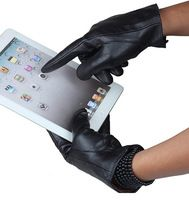 Tiding Mens Leather Gloves Fashion Touchscreen Gloves For iPad iPhone with Cashmere Lining 5020