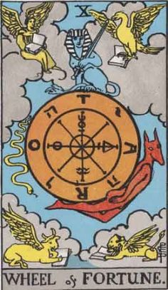 The Wheel of Fortune,10th Major Arcana tarot card from the Rider-Waite (A.E Waite) Tarot deck. Signifies destiny, fate, opportunities, new developments.