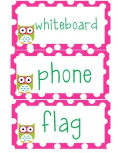 Polka dot and owl themed classroom labels!...
