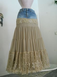 Isabelle bohemian jean skirt exquisite vintage French lace creamy tiered ruffled Renaissance Denim Couture fairy goddess Made to Order via Etsy Altered Couture, Denim And Lace, Denim Fashion, Boho Fashion, Fashion Design, Sewing Clothes, Diy Clothes, How To Make Skirt, Mode Jeans