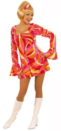Disfraz rojo estilo disco para mujer: Este disfraz estilo disco para mujer se compone de un vestido y una cinta para el pelo. El vestido es de color rojo satinado con motivos estilo años 70. La cinta para el pelo va a juego con el...