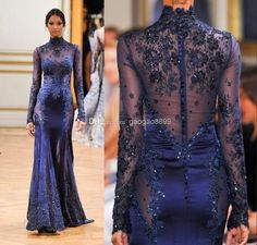7815f924ac1 2016 Zuhair Murad High Neck Lace Formal Evening Dresses Long Sleeve  See-through Beads Appliques Prom Celebrity Gowns Custom Navy Blue