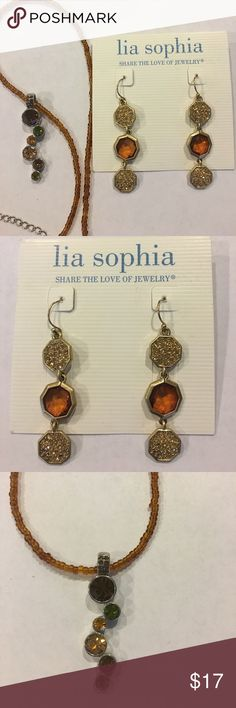 "Lia Sophia Amber Colored Jewelry Bundle! Lia Sophia Amber 2.5"" Dangle Hook Earrings as well as Lia Sophia 19"" Amber Seed Bead Necklace featuring earth tone crystal stone pendant! Not a set but same color hues and can be worn together! Lia Sophia Jewelry"