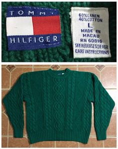 c7950f601a078 Vintage Tommy Hilfiger Knit Sweater Sweatshirt Linen Cotton Shirt Men s  Size L