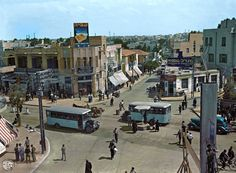 """Kikar magen David, Tel Aviv Israel, 1934. Colorized by avi A. Katz from an original Black and white photo courtesy of the Rudi Weissenstein archive and the """"Tzalmania""""."""