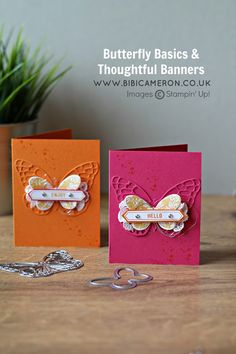 LOVE the colors on these cards and the design.  Made with Stampin Up Butterfly Basics Stamp Set and Thoughtful Banners Stamp Set really want to CASE these cards