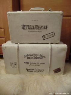 Vintage Box, Shabby Vintage, Shabby Chic, Vintage Suitcases, Vintage Luggage, Decoupage Suitcase, Suitcase Decor, Headboard Benches, Bridesmaid Boxes