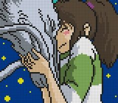 Haku And Chihiro From Spirited Away Perler Bead Pattern / Bead Sprite: